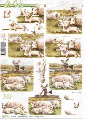 Feuille 3D moutons