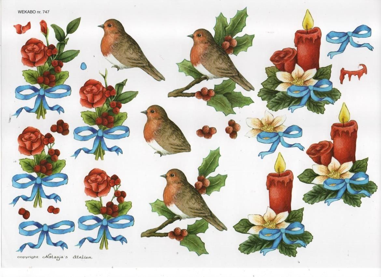 Feuille 3D oiseau et bougie de Noël