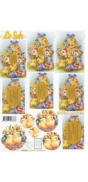 Feuille 3D panier Pâques et poussins