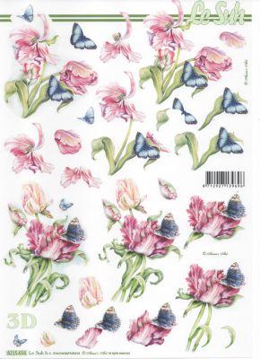 Feuille 3D papillon bleu et fleurs rose