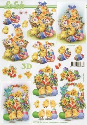 Feuille 3D poussin Pâques et oeuf couleur