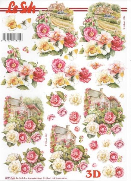 Feuille 3D rose blanche et maison
