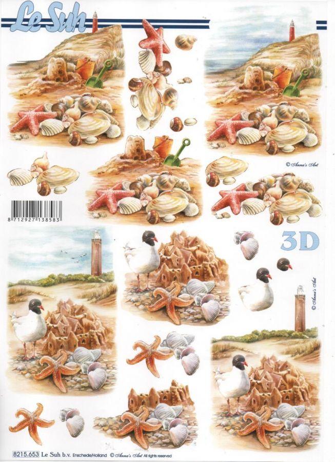 Feuilles 3D château de sable et mer