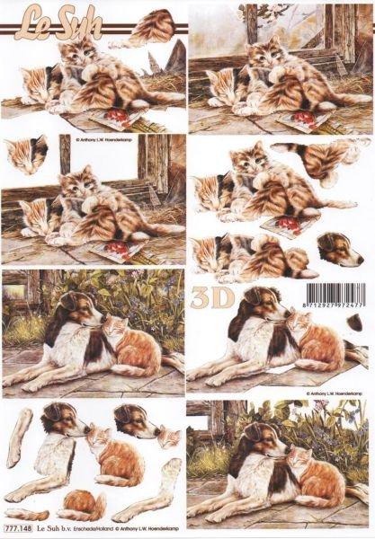 Feuilles 3D chat brun et chien