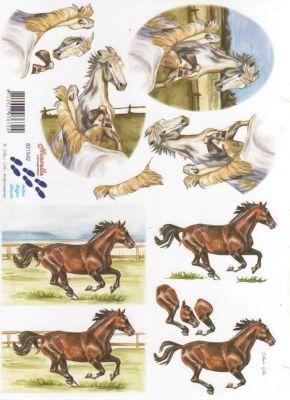 Feuilles 3D chevaux de course à découper
