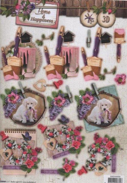 Feuilles 3D chien et fleurs