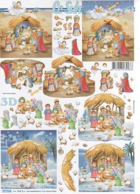 Feuilles 3D à découper crèche de Noël enfants