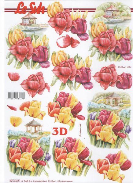 Feuille 3d fleurs feuilles 3d d couper tulipe jaune - Fourniture loisirs creatifs ...