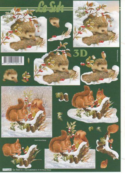 Feuilles 3D écureuil dans la neige