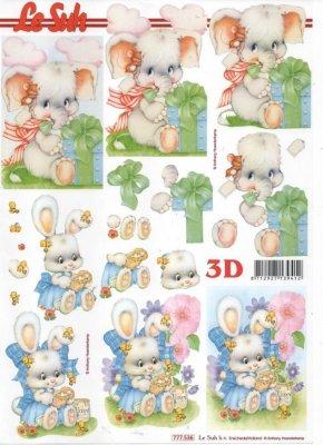 Feuilles 3D petit lapin