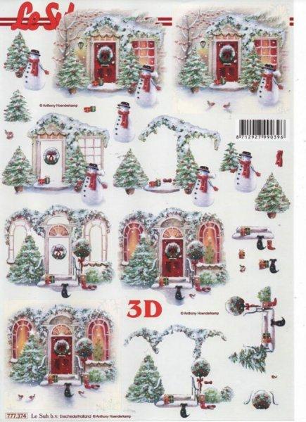 Feuilles 3D Noël et neige