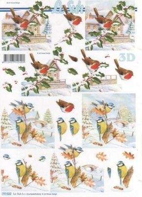 Feuilles 3D oiseaux dans la neige