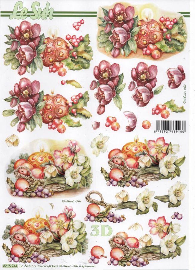 Feuilles 3D pommes et fleurs