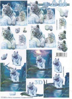 Feuilles 3D tigre blanc