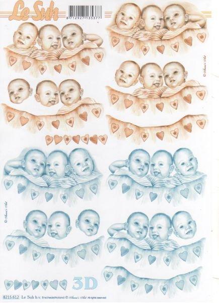 Feuilles à découper 3D  3 bébés