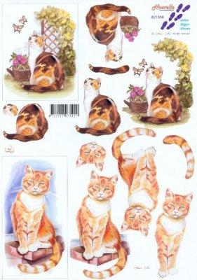 Feuilles à découper 3D chat bruns