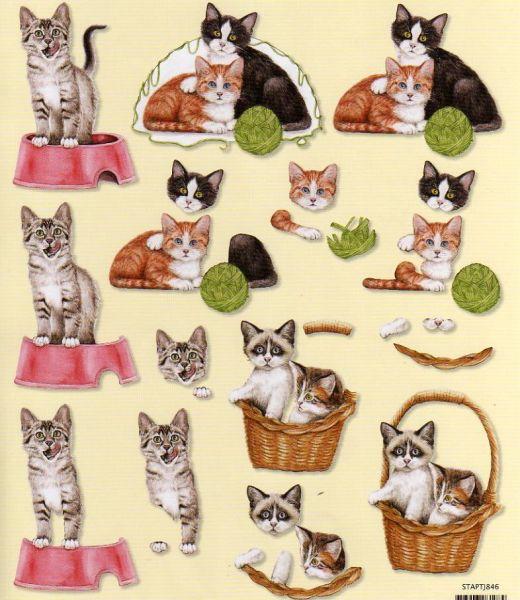 Feuilles à découper 3D chats brun