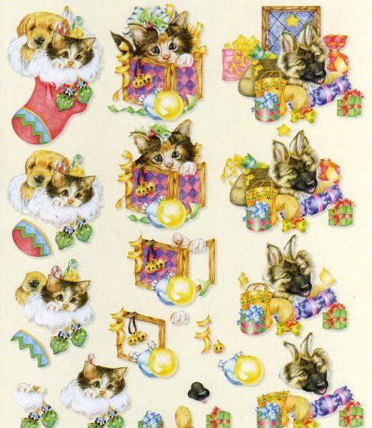 Feuilles à découper 3D chats et botte de Noël