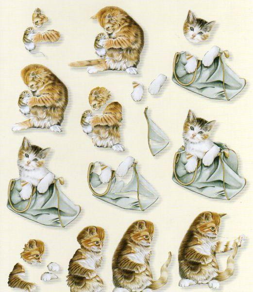 Feuilles à découper 3D chats et sac
