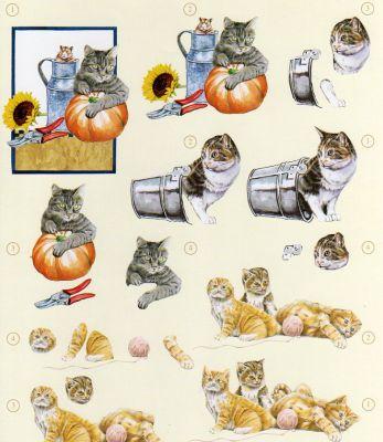 Feuilles à découper 3D chats et seau