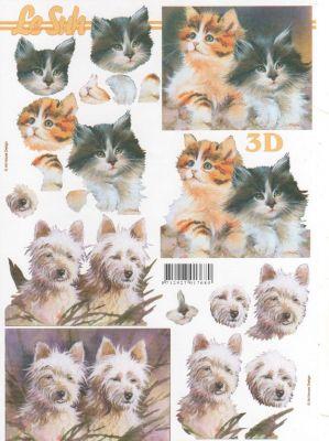 Feuilles à découper 3D  2 chats