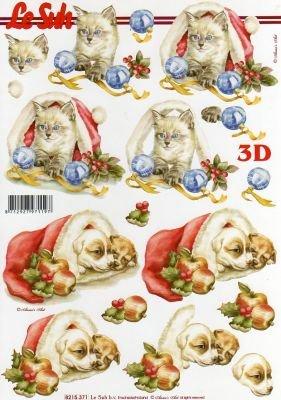 Feuilles 3D chats et boule de Noël
