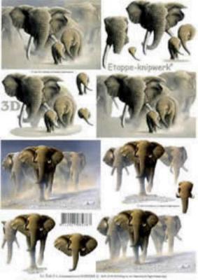 Feuilles à découper 3D - 3 Eléphants