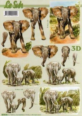 Feuilles 3D Eléphants à découper