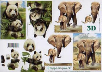 Feuilles à découper 3D Eléphants et Panda