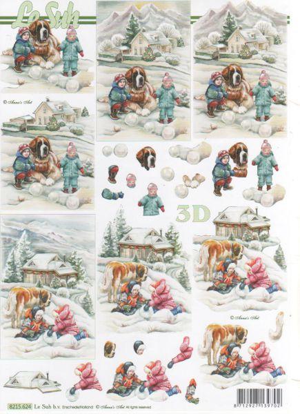 Feuille 3d feuilles d couper 3d 2 enfants et neige - Fourniture loisirs creatifs ...