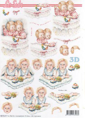 Feuilles à découper 3D  2 enfants