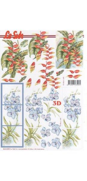 Feuilles à découper 3D  fleur bleu