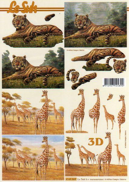 Feuille 3d animaux feuilles d couper 3d girafes - Fourniture loisirs creatifs ...