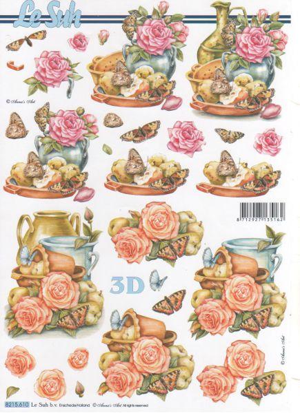 Feuille 3d fleurs feuilles d couper 3d roses et papillons - Fourniture loisirs creatifs ...