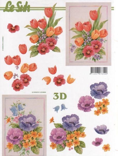 Feuille 3d fleurs feuilles d couper 3d tulipes et fleurs - Fourniture loisirs creatifs ...