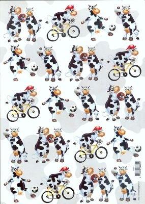 Feuilles à découper 3D vache