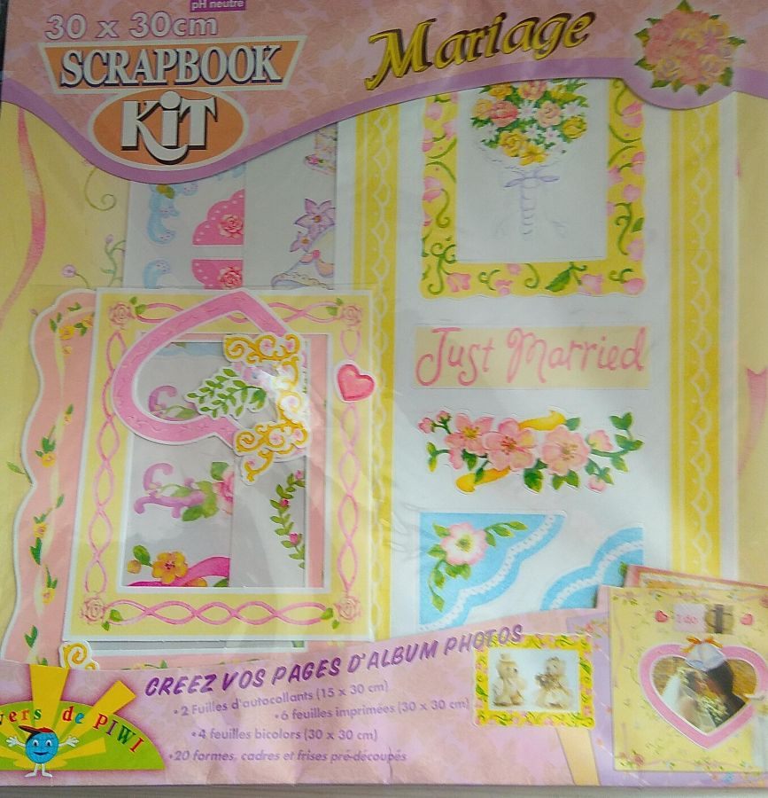 Kit scrapbooking Mariage 10 feuilles 30 cm x 30 cm