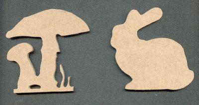 Lapin et Champignons MDF 140 mm x 50 mm