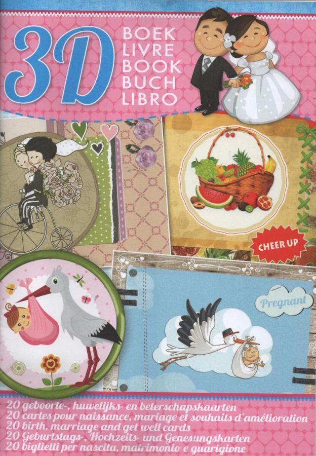 Livre 20 cartes 3D mariage, naissance,
