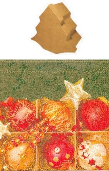 Mini sapin 100 mm x 105 mm x 52 mm + boules de Noël
