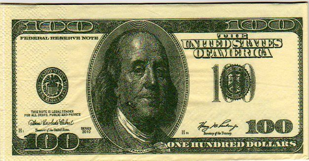 Mouchoirs Money 100 Dollars 8 cm X 16 cm 3 plis