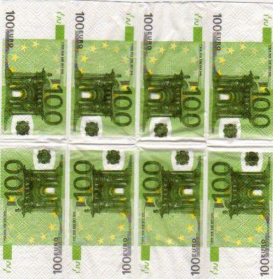 Mouchoirs Money 100 Euro 5 cm X 10 cm 3 plis