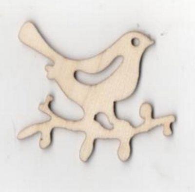 Oiseau bois sur une branche 35 mm x 50 mm