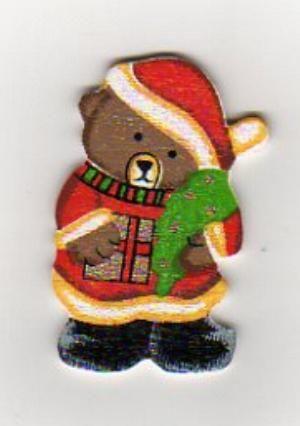 Ourson bois avec cadeau peint 5 cm