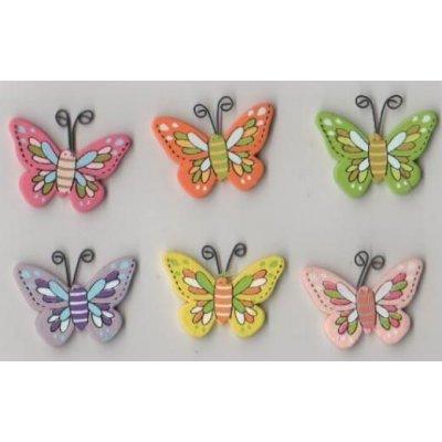 Papillons bois multicolores 30 mm lot de 6