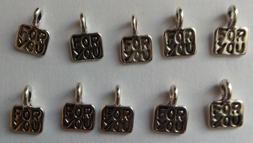 Pendentifs Breloque métal motif for you  10 mm pour bracelet lot de 10 pièces