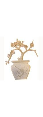 Plante en pot en MDF à peindre 19 cm x 24,5 cm