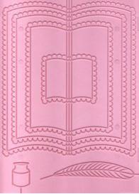 Plaque embossage motif livre et coeur