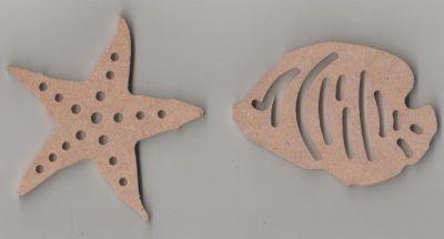 Poisson et étoile MDF à peindre 70 mm x 40 mm