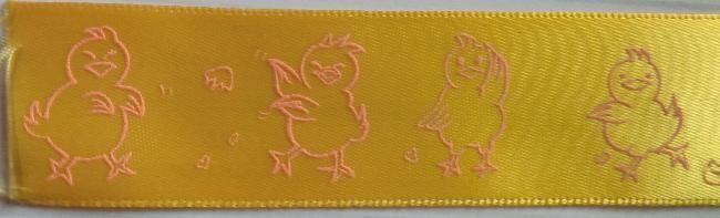 Rubans satin jaune motif poussin 25 mm